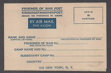 """**US WWII """"Prisioner of War"""" Airmail Postal Stationery Cover, Unused, NICE!!"""