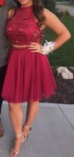 $450 Sherri Hill Two 2 Piece Embroidered Prom Short Dress Size 12  Excellent!!