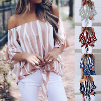 Women's Bardot Off Shoulder Top Lady Summer Casual Loose T-Shirt Blouse UK 6-24