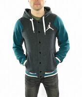 Men's Nike Air Jordan Varsity Style Hoodie In Grey / Green  Size Small