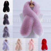 Women Faux Fur Scarf Collar Winter Warm Fluffy Furry Shawl Wrap Stole Soft Long@