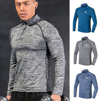 Men's 1/4 Zip Mock Neck Active Pullover Athletic Long Sleeve Sport Gym T Shirt