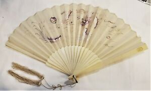 Antique Chinese Silk Folding Hand Fan Embroidered Dragon & Fitted Painted Box