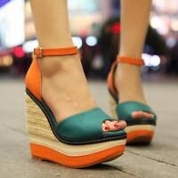 Women Roman Peep Toe Platform High Wedge Heel Party Sandals Nightclub BOHO Shoes
