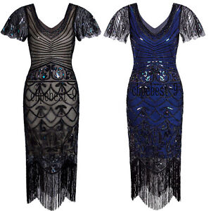 Womens Flapper Gatsby 20s Party Prom Evening Dress Plus Size Retro 1920s Costume