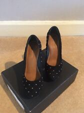 Kurt Geiger Evita Black Quilted Suede Heels - UK Size 7 - Used, Good Condition