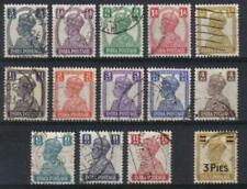 INDIA 1941-46 KGVI DEFINITIVE SET SCOTT 168-179, 199 USED