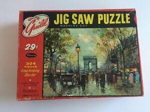 """Whitman Guild Vintage Puzzle 304 Pieces """"Champs Elysees"""" Paris Scene COMPLETE"""