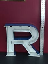 """19"""" Industrial salvage electric block Letter """"R"""" Sign, Metal Letter blue/white"""