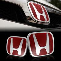 2PCS JDM Red H Front and Rear Emblem Badge For HONDA ACCORD 2018 SEDAN 4DR