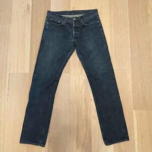 Helmut Lang Made in USA Vtg Blue Selvedge Denim Jeans 33 34 x 33