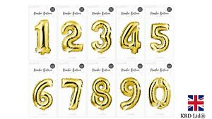 Gold Foil Number Balloon Air Helium Anniversary Bday Party Balloons GM2771 UK