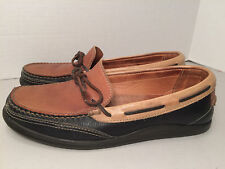 MENS HANDCRAFTED JOHNSTON & MURPHY SLIP ON LOAFERS TRI COLOR BLACK TAN 9 M