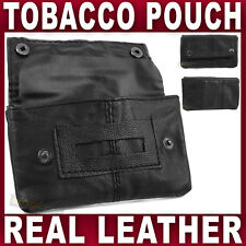 Black REAL LEATHER TOBACCO POUCH holder rolling pocket paper slot Womens Gents