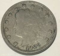 """1908 LIBERTY """"V"""" NICKEL **** NICE CIRCULATED COIN - L@@K AT PICTURES!!!!!  #1983"""