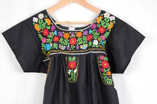 Hand Embroidered Black Dress Made Mexico Boho Size Small STUNNING Quality