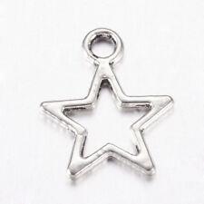 50x Tibetan Metal Charm Antique Silver Star Hollow Pendant Jewelry Finding 12mm