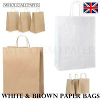 BROWN WHITE KRAFT SMALL LARGE PAPER CARRIER BAGS WITH HANDLES 50 100 PARTY GIFT
