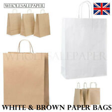 More details for brown white kraft small large paper carrier bags with handles 50 100 party gift