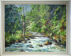 SVEND ORBECH JACOBSEN! FOREST LANDSCAPE WITH STREAM