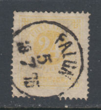 Sweden 24a VF Used 1872 24o Yellow Perf 14 Numeral Falun Postmark SCV $42.50