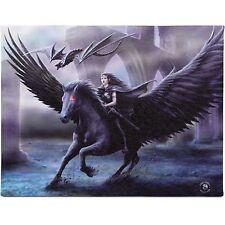 Realm of Ténèbres Anne Stokes Plaque Ailes D'ange Cheval Noir Dragon Toile D'Art