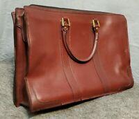 Vtg. Leather PEGASUS Burgundy Attache Briefcase Doc. Portfolio Handled Bag USA