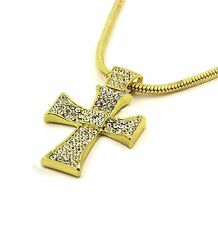 "Mens 14k Gold Filled Fully Cz Cross Pendant Hip-Hop 24"" Snake Necklace Chain 01"