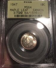 1947 Canada 10 Cents MS64 PCGS!