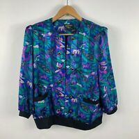 Stiches Plus Womens Top Size 14 Multicoloured Floral Long Sleeve Vintage Retro