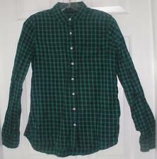 NWT JCP Womens Navy Green Plaid L/S Button Up Cotton Casual Shirt Size Small S