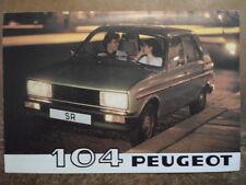 PEUGEOT 104 RANGE 1980 UK Mkt Sales Brochure
