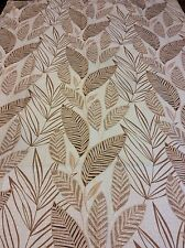 Leaf Leaves Palm Leaves Shower Curtain Fabric Ivory With Brown & Gold Leaves NIP