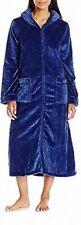 ARIA Womens Sleepwear Royal Blue Size XL Textured Chenile Zip-Front Robe $65 830