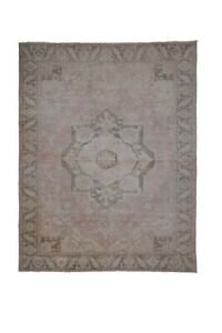 """Vintage Handknotted Floor Rug Neutral Colors Oversized Rug 8'4"""" X 10'8"""""""