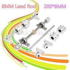 2x8mm 200 mm Linear Rail Shaft Rod w/ 4pc Bearing Block+8mm Lead Screw Guide Set