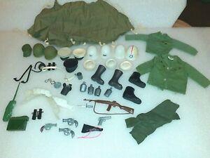 VINTAGE G.I. JOE ACCESSORY LOT - GUNS, TENT, HELMETS, CAPS, BELTS, CANTEENS MORE