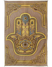 Hamsa Hand Tapestry Wall Art New Age Indian Home Decor Brown Curtain 80x52""