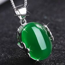 DEALS 925 Silver & Emerald Green Stone Necklace Xmas Gift For Her Wife Mum Women