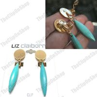 """EZ CLIP ON 2""""Long EARRINGS dropper VEINED TURQUOISE GEMSTONE gold fashion RETRO"""