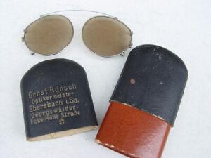 alte Nickelbrille Schneebrille Sonnenbrille Kneifer getöntes Glas in Pappeetui