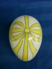 New Vintage Limoges France Hand Painted Yello Ribbon Trinket Box / Egg_Free Ship