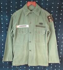 Vintage 1960s Us Army Od Satén Algodón Fatiga Camisa Airborne Parches Vietnam