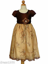 Girls Pageant, Party Dress ,Dark Brown/Light Brown,Size : 3/4 (3-4 years )