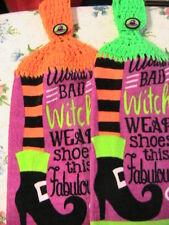 FABULOUS WITCH SHOES #B~2 CROCHET TOP KITCHEN~BATH~SHOP~HAND TOWELS~HAT buttons