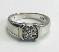 VTG Sterling Silver .925 Diamond Chip Band Ring Size 5.5