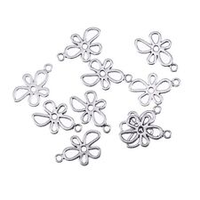 10pcs Hollow Flowers Beads Tibetan Silver Charms Pendant DIY Bracelet 20*13mm