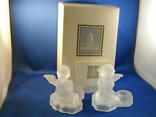 Avon 1995 Set Of [2] Hummel Frosted Angel W/Harp Candle Holders 24% Lead Crystal