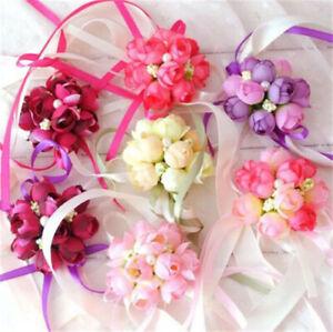 Wrist Corsage , Girl Bridesmaid Wedding Wrist Corsage Party Prom Hand Flower