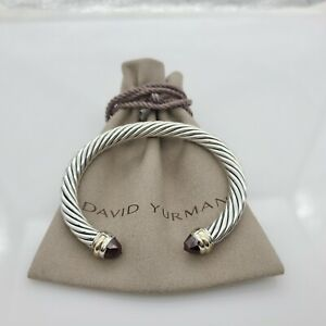 DAVID YURMAN Cable Classic Bracelet with Garnet & 14K Gold 7mm size Medium